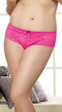 Plus Size Lace Open Crotch Short - Hot Pink