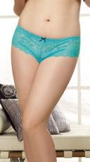 Plus Size Lace Open Crotch Short - Turquoise