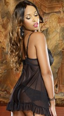 Satin Gartered Babydoll Set - Black