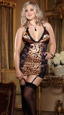 Plus Size Leopard and Lace Chemise Set - Leopard