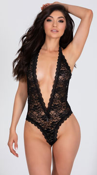 Stretch Lace Halter Teddy with Heart Cut Out - Black