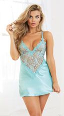 Satin and Lace Chemise Set - as shown