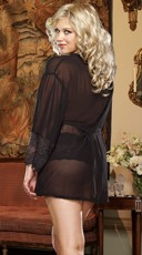 Plus Size Soft Kimono and Cheeky Panty - Black