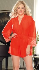 Plus Size Soft Kimono and Cheeky Panty - Coral