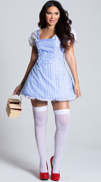 Blue Gingham Dress Costume - Blue/White