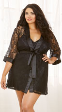 Lace and Satin Chemise Robe with Matching Slip - Black