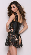 Faux Leather and Venice Lace Corset - Black