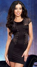 Rusty Nail Illusion Studded Club Dress - Black