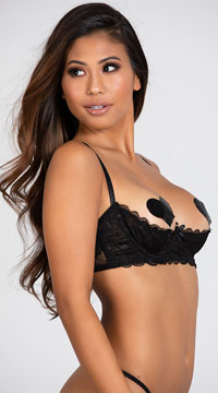 Sultry Nights Open Cup Shelf Bra - Black