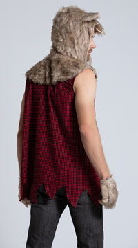 Men's Sexy Bad Wolf Costume - Red/Black