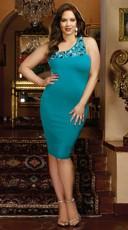 Plus Size A Luxe Affair Single Shoulder Bodycon Dress - Teal