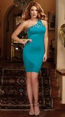 A Luxe Affair Single Shoulder Bodycon Dress - Teal