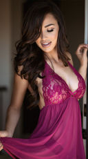 Ravishing Soft Lace Babydoll Set - Raspberry
