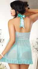 Plus Size Flyaway Beauty Babydoll - Aqua