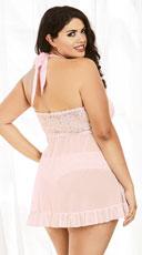 Plus Size Flyaway Beauty Babydoll - Vintage Pink