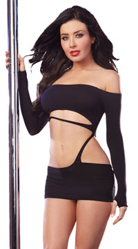 Cut Out Black Dress - Black