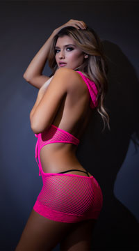 Neon Pink Fishnet Hooded Dress - Neon Pink
