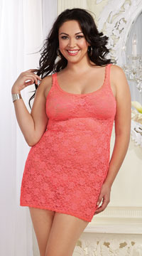 Plus Size Sheer Lace Chemise and Panty - Coral