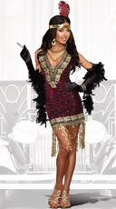 Sophisticated Lady Flapper Costume - Burgundy
