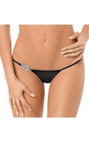 Jeweled Side Thong - Black