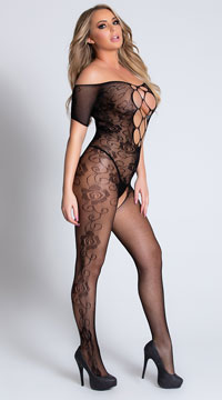 Criss-Cross and Lace Bodystocking - Black