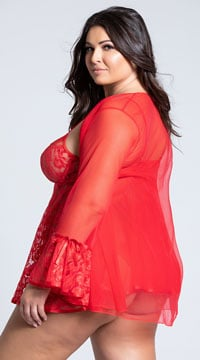 Plus Size Romantic Lace Robe and Babydoll - Red