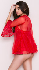 Romantic Lace Babydoll and Robe Set - Red