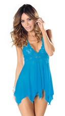 Plus Size Lace Babydoll with Mesh Cups and Thong - Blue