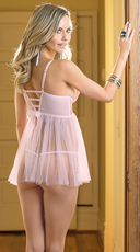 Traces of Lace Pink Babydoll - Pink/Gold
