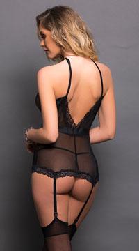 Dotted Lace Bustier Set - Black
