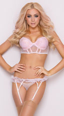 Antique Pink and Gold Lace Bra Set - Pink/Gold