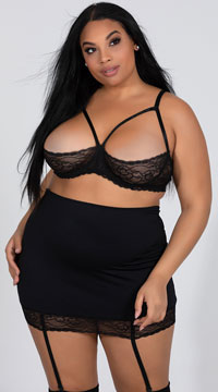 62f509c7b6f ... Plus Size High Waisted Garter Skirt Set - Black ...