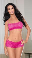 Shorty Lace Bra and Panty Set - Fuchsia