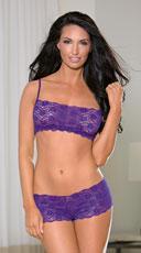 Shorty Lace Bra and Panty Set - Purple