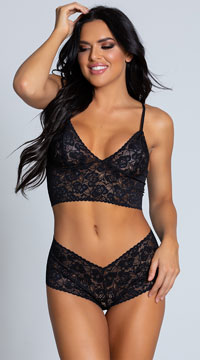 Sexy Lace Cami and Boyshort Set - as shown