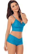 Sexy Lace Cami and Boyshort Set - Ocean Blue