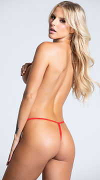 Mini Bow Open Crotch Panty - Red