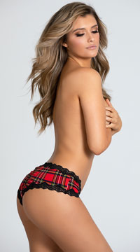 Please Me Plaid Boyshort Panty - Red Plaid