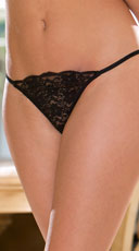 Sheer Lacy G-String - Black