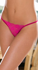 Sheer Lacy G-String - Fuchsia