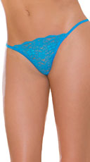Sheer Lacy G-String - Blue