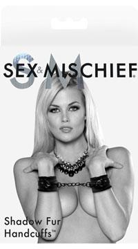 Sex & Mischief Shadow Fur Handcuffs - Black