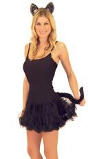 Black Cat Ears And Tail Kit - Black