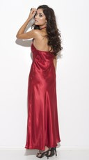 Long Satin Sleep Gown - Red