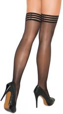 Striped Elastic Band Sheer Thigh High Stockings - Black