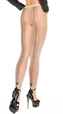 Cuban Foot Pantyhose With Lace-Up Back Detail - Nude