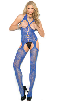 Royal Blue Open Cup Bodystocking - Royal Blue