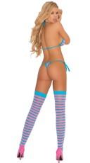 String Bra, Thong and Stocking Set - Pink/Blue