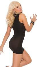 Plus Size Opaque Cupless Mini Dress - Black