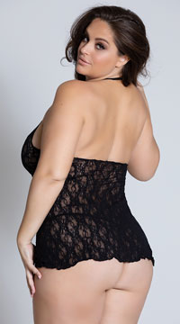 Plus Size Lace Halter Top Mini Dress - Black